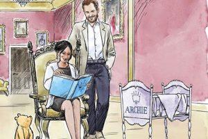 В честь рождения сына принца Гарри и Меган Маркл нарисовали трогательный мультфильм