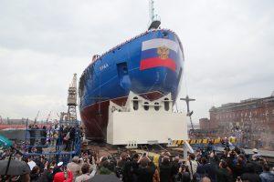 В Петербурге спустили на воду атомный ледокол «Урал». Его «крёстной матерью» стала глава ЦБ Эльвира Набиуллина