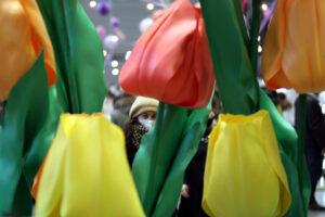 На Красногвардейской площади к 8 марта расцвели гигантские тюльпаны